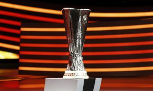 The UEFA Europa League trophy is seen on stage following the draw for the 2014/2015 UEFA Europa League soccer competition at Monaco's Grimaldi Forum in Monte Carlo August 29, 2014. REUTERS/Eric Gaillard (MONACO - Tags: SPORT SOCCER)